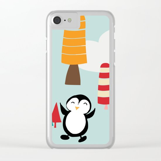 Oriana Penguin blue Clear iPhone Case