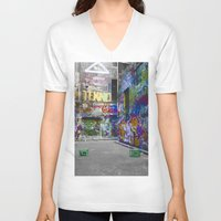 melbourne V-neck T-shirts featuring Melbourne Graffiti by Another Alex