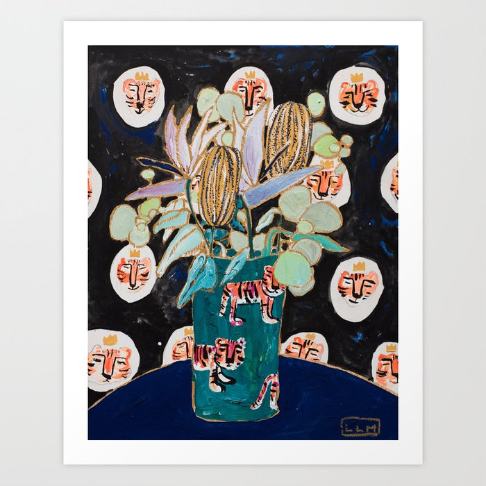 Dark Floral Still Life with Banksia Pods and Tigers Art Print