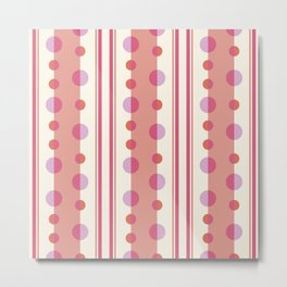 Modern Circles and Stripes in Peach and Cream Metal Print