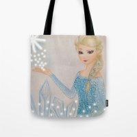 frozen elsa Tote Bags featuring Elsa - frozen by Amana HB