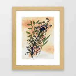 Watercolor Feather And Flora Framed Art Print