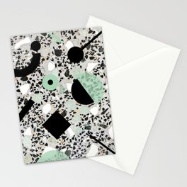 Terrazzo Design Memphis Style Green and Black Stationery Cards