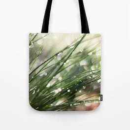 Dew on Grass : Joy Comes in the Morning Tote Bag