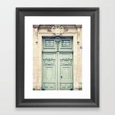 Paris door, grey aqua Framed Art Print