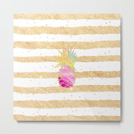 Modern pink watercolor pineapple faux gold glitter stripes Metal Print