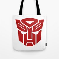 transformers Tote Bags featuring Transformers by tshirtsz