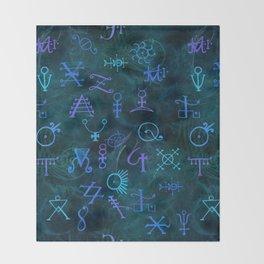 Alchemy Symbols Pattern Throw Blanket