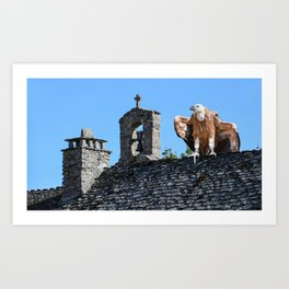 Vulture Perched On Church Roof Art Print