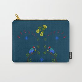 Partridges and Pears on Teal Carry-All Pouch