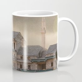 Mostar Bosnia and Herzegovina Photography, Fog, Golden Hour, Minaret, Travel Wall Art Coffee Mug
