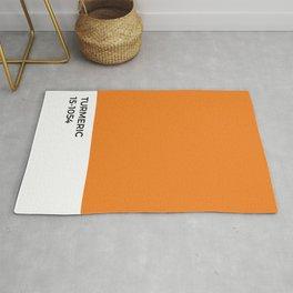 Turmeric Pantone Chip • Spice •Orange •Food Art • Design • Graphics • Minimalism • Classic Print Rug