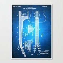Gibson Thaddeus J Mchugh Guitar Patent Blueprint Drawing Canvas Print