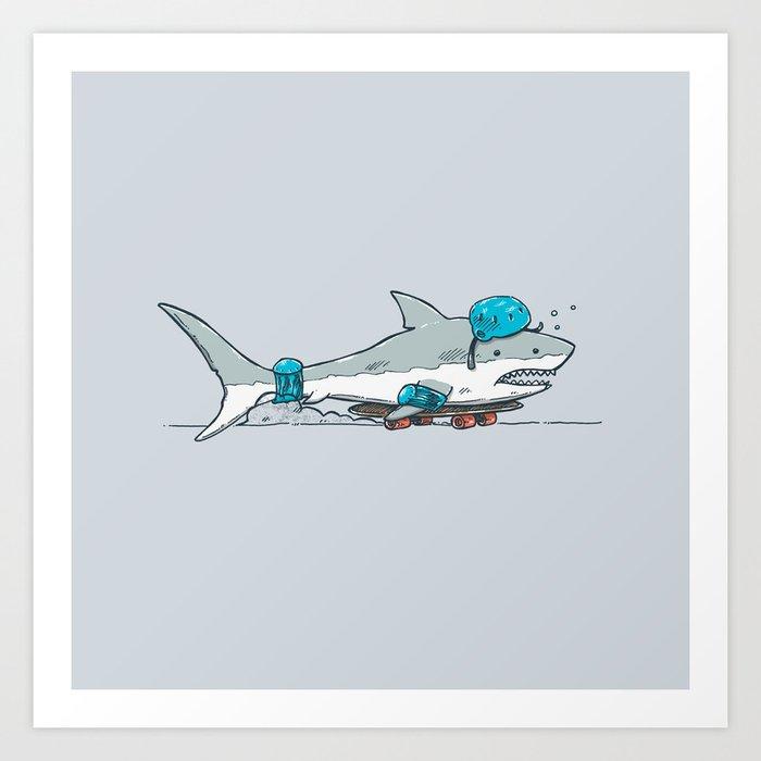 The Shark Skater Art Print