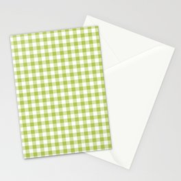 Lime Green Gingham Stationery Cards