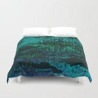 marx Duvet Covers featuring Flora Celeste Kyanite Aqua Aura Tree Texture  by Meteora