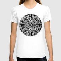 folk T-shirts featuring Black & White Folk Art Pattern by micklyn