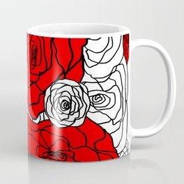 White & Red Rose Bush Coffee Mug