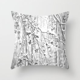 Cloudy Day In The Forest B&W Snowy Rowan Branches With Berries #decor #society6 #homedecor Throw Pillow