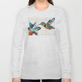 Colorful Hummingbird Art by Sharon Cummings Long Sleeve T-shirt