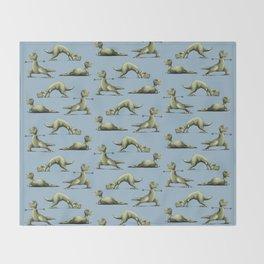Yogasaurs (Blue) Throw Blanket