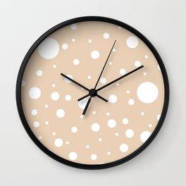 Mixed Polka Dots - White on Pastel Brown Wall Clock