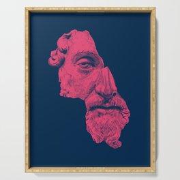 MARCUS AURELIUS ANTONINUS AUGUSTUS / prussian blue / vivid red Serving Tray