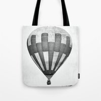 hot air balloon Tote Bags featuring Hot Air Balloon by Rose Etiennette