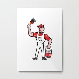 House Painter Holding Paint Can Paintbrush Cartoon Metal Print