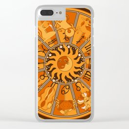 Harley and J Zodiac Orange Clear iPhone Case