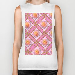 CREAMY  ROSES & RAMBLING THORNY CANES ON  PINK  DIAGONAL PATTERNS Biker Tank