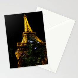 Eiffel Tower lit up at night, Paris Stationery Cards
