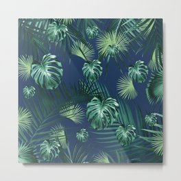 Tropical Jungle Night Leaves Garden #2 #tropical #decor #art #society6 Metal Print