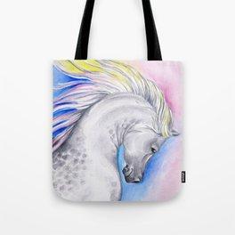 Rainbow Arabian Horse watercolor Art Tote Bag