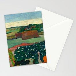 "Paul Gauguin ""Les meules ou Le Champ de pommes de terre or Haystacks in Brettany"" Stationery Cards"