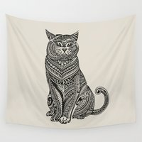 british Wall Tapestries featuring Polynesian British Shorthair cat by Huebucket