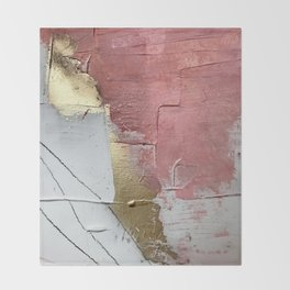 Darling: a minimal, abstract mixed-media piece in pink, white, and gold by Alyssa Hamilton Art Throw Blanket