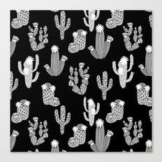 Cactus linocut black and white minimal desert southwest socal joshua tree Canvas Print
