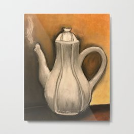 White Tea Kettle Metal Print