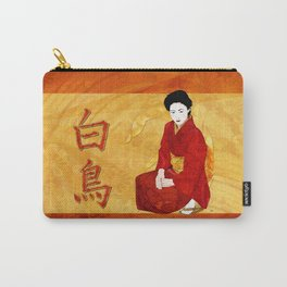 Swan Japanese Geisha Folk Art Carry-All Pouch