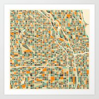 chicago map Art Prints featuring Chicago Map by Jazzberry Blue