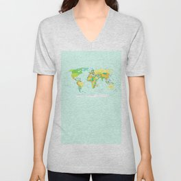 World Map Unisex V-Neck