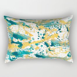 Teal and Gold Splatter Paint  Rectangular Pillow