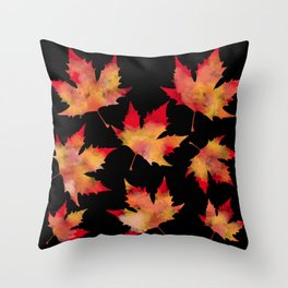 Maple leaves black Throw Pillow