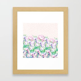 Pastel pink lavender watercolor floral animal print Framed Art Print