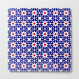 Stars 42- dark blue and red Metal Print