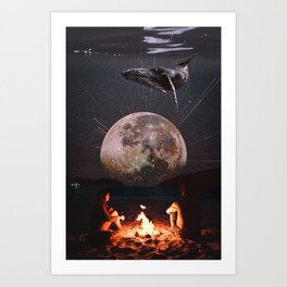 Oceanfront enjoying the night Art Print