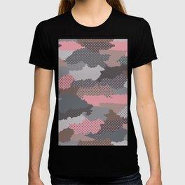 Retro modern camouflage military hand drawn illustration pattern T-shirt
