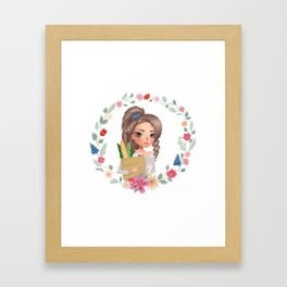 girl with groceries Framed Art Print
