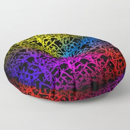 Fluttering pattern of neon squiggles and yellow ropes on a black background. Floor Pillow